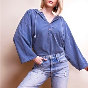 Vintage 80s blue oversized baggy hooded T-shirt